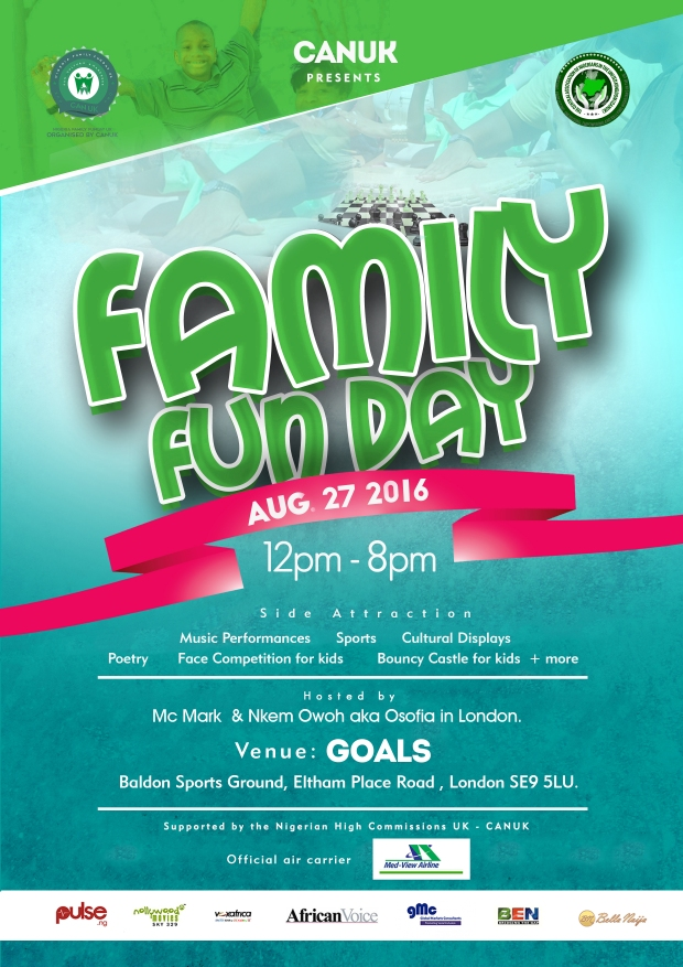 Family Fun Day FLYER  - FRONT page - 27th Aug